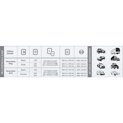 Klakson Eropa 12V Black Mobil Bosch Set