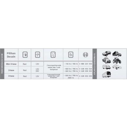 Klakson 2-3 Tone 2 Tone 12V Mobil Bosch Set