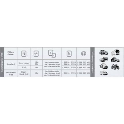Klakson FD4 12V & 24V Mobil Bosch (Steel & Black) Set